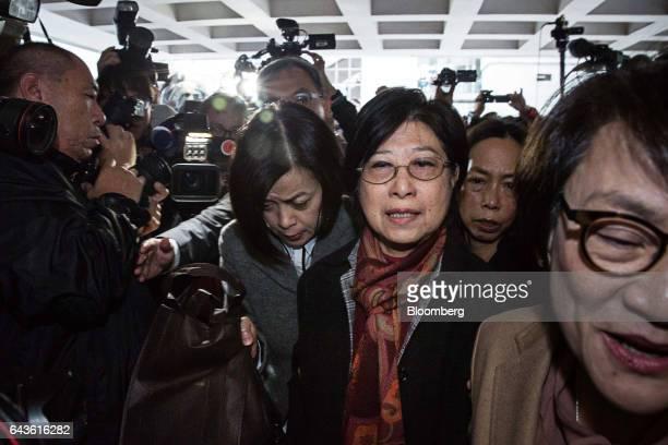 Selina Tsang wife of Hong Kong's former chief executive Donald Tsang center arrives at the High Court in Hong Kong China on Wednesday Feb 22 2017...