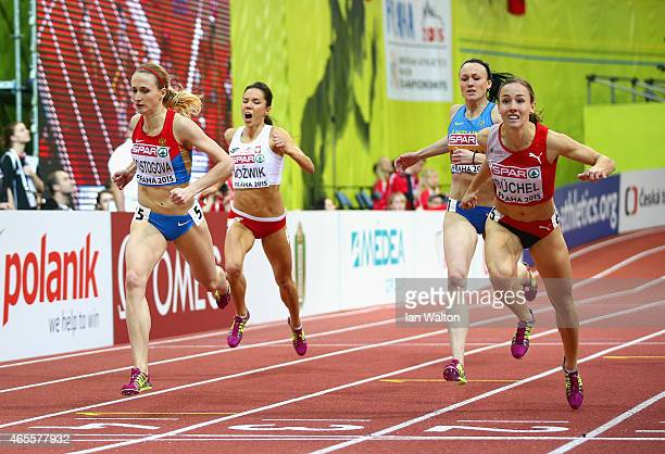 Seline Buchel of Switzerland crosses the line ahead of Yekaterina Poistogova of Russia to win gold in the Women's 800 metres Final during day three...