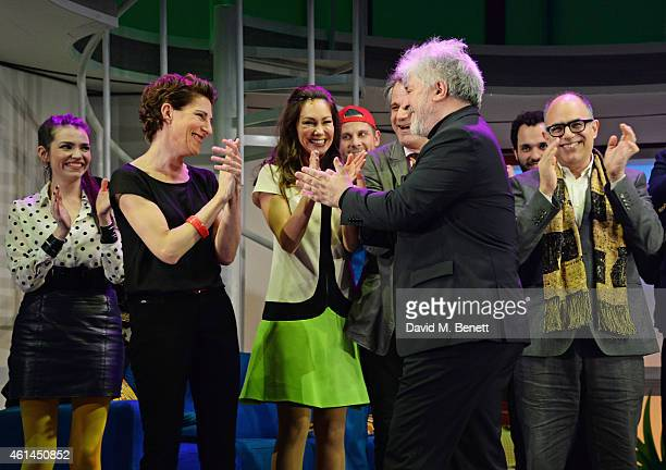 Seline Hizli Tamsin Greig Anna Skellern director Bartlett Sher Pedro Almodovar and writer David Yazbek bow at the curtain call during the press night...