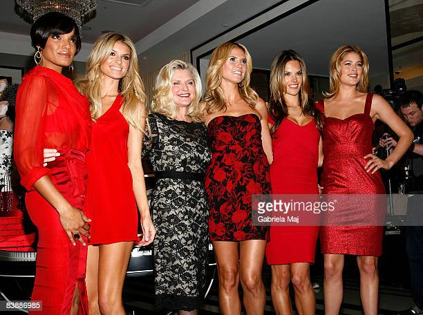 Selita Banks Marisa Miller Victoria's Secret CEO Sharen Turney Heidi Klum Alessandra Ambrosia and Doutzen Kroes attend the opening of the Victoria...