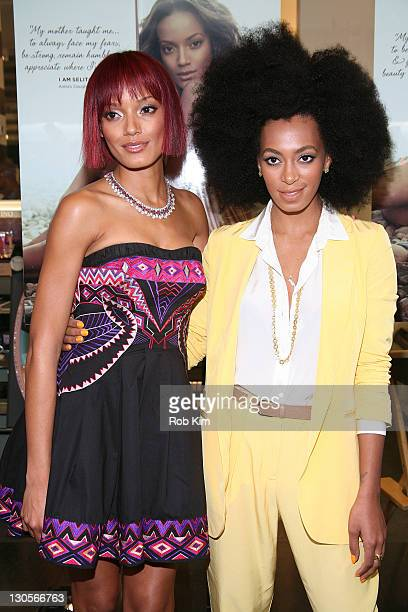 Selita Ebanks and Solange Knowles attend the Carol's Daughter Spokesbeauty Monoi Repairing Collection Launch at Sephora on May 24 2011 in New York...