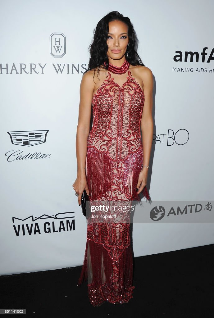 Selita Ebanks arrives at amfAR Los Angeles 2017 at Ron Burkleâs Green Acres Estate on October 13, 2017 in Beverly Hills, Californi