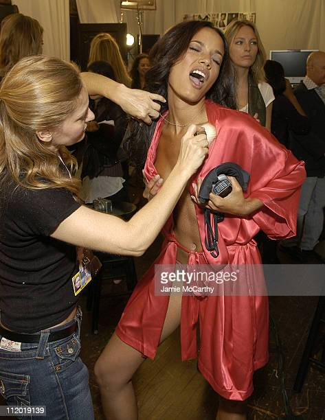Selita Ebanks during 10th Victoria's Secret Fashion Show Hair and Makeup at The New York State Armory in New York City New York United States