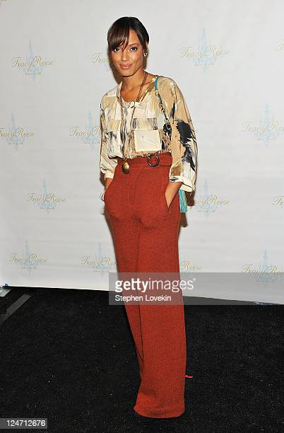 Selita Ebanks poses backstage at the Tracy Reese Spring 2012 fashion show during MercedesBenz Fashion Week at The Studio at Lincoln Center on...