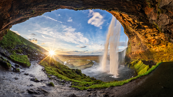 Seljalandfoss waterfall in summer time at sunset,  Iceland 1090475228