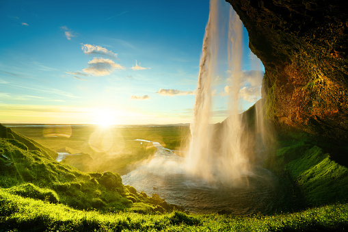 Seljalandfoss waterfall in summer time, Iceland 900889928