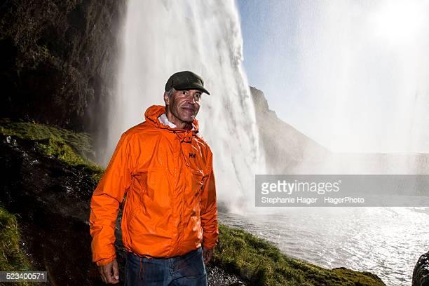 Seljalandsfoss and man walking