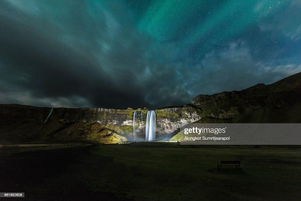 Seljalandsfoss Waterfall with Aurora, Iceland