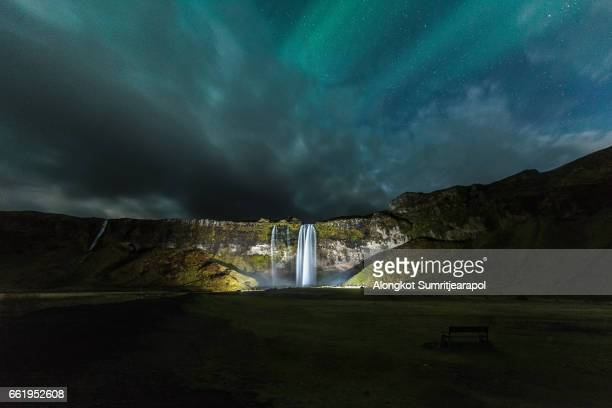 Seljalandsfoss Waterfall with Aurora, Iceland