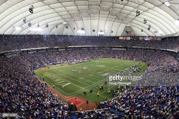 Sell out crowd of 62,815 fans take in the action as the Minnesota Vikings defeated the Atlanta Falcons 24-3 at the Metrodome on September 9, 2007 in...