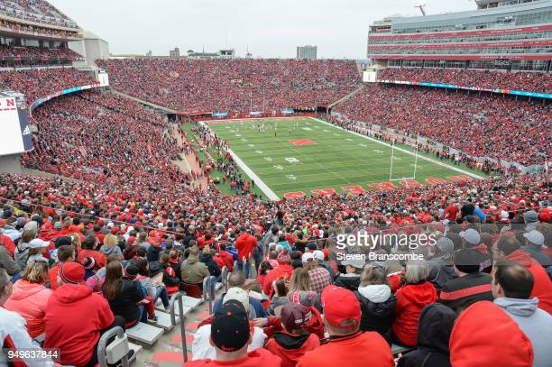 A sell out crowd of over 86000 watches action during the Spring game at Memorial Stadium on April 21 2018 in Lincoln Nebraska