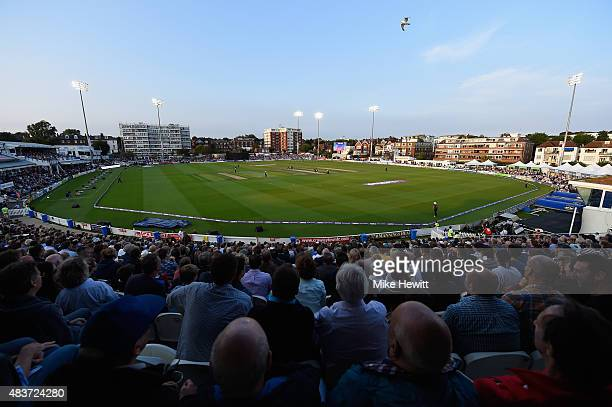 Sell out crowd watches the NatWest T20 Blast Quarter Final between Sussex Sharks v Northamptonshire Steelbacks at BrightonandHoveJobs.com County...