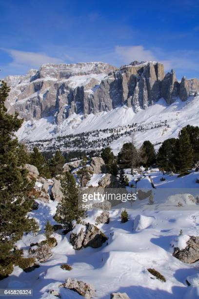 Sella Massive the Dolomites Italy at winter