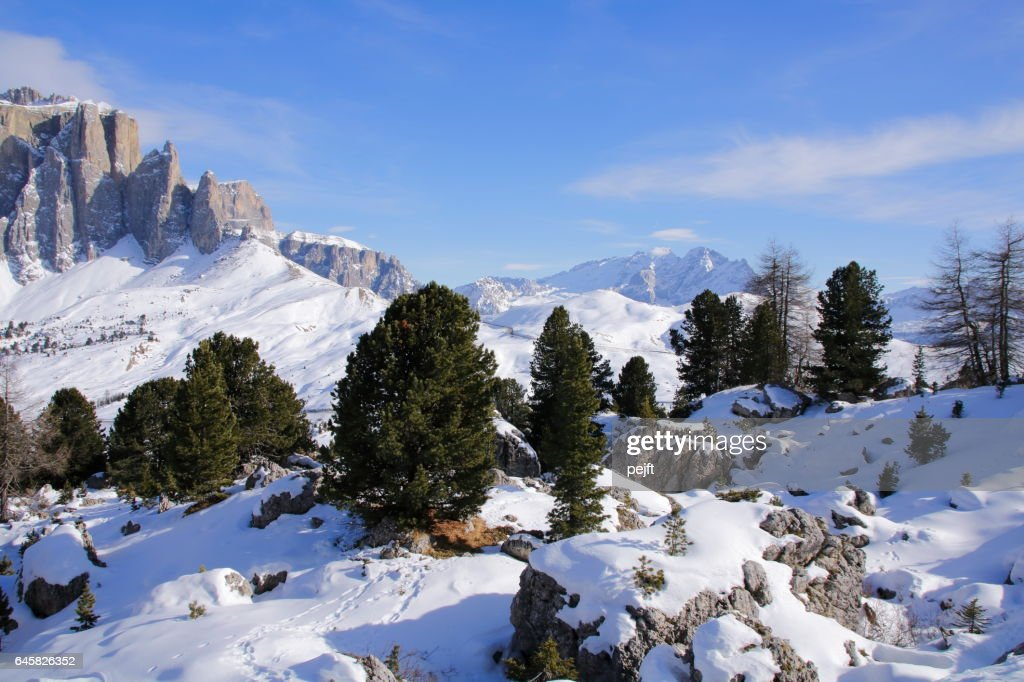 Sella Massive the Dolomites Italy at winter : Stock Photo