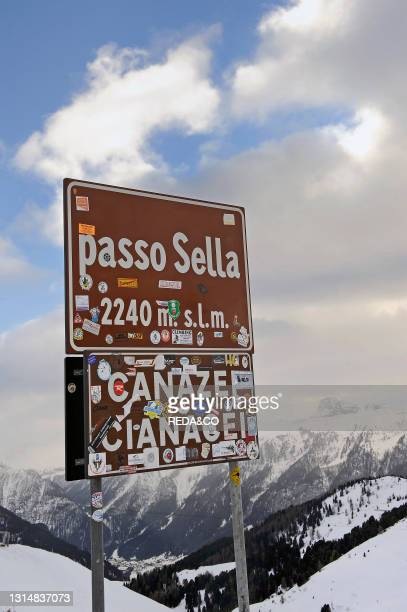 Sella Pass. Between Gardena Valley and Fassa Valley. Trentino Alto Adige. Italy.