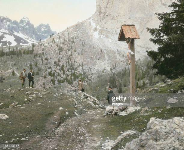 Sellajoch is a 2240 m high mountain pass in Italy and the connection between Groeden near Wolkenstein in South Tyrol and Canazei in Fassa Valley....