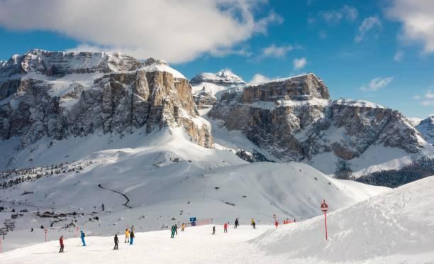 Sellaronda ski area in front of the Sella massif, Selva di Val Gardena, Dolomites, South Tyrol, Alto Adige, Italy