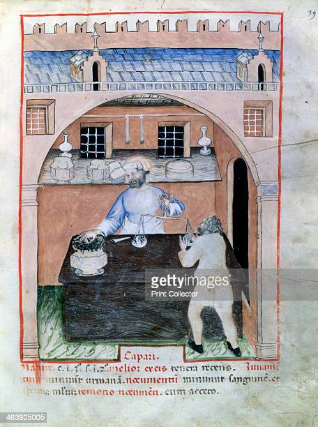 Seller of capers, 1390-1400. Illustration from Tacuinum Sanitatis, illuminated medical manual based on texts translated from Arabic into Latin, in...