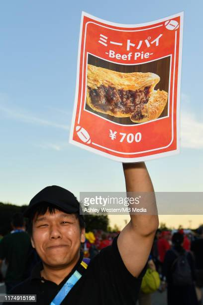 A seller on the concourse before the Rugby World Cup 2019 Group D game between Wales and Fiji at Oita Stadium on October 9 2019 in Oita Japan