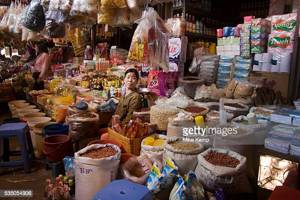 Seller with spices nuts and other goods Psar Leu market at the heart of this transport stop just outside Siem Reap to the east This huge market...