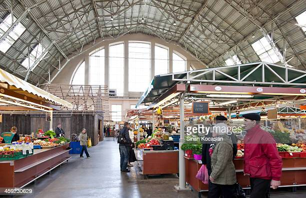 Sellers and customers in Riga Central Market, Latvia