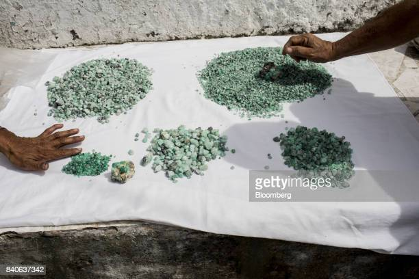 Sellers display emeralds at the main square in Muzo Colombia on Saturday Aug 5 2017 Colombia is the world's largest producer of emeralds The Town of...