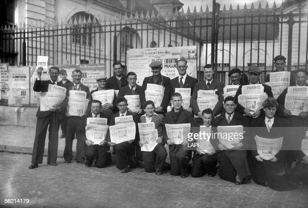 Sellers of 'L'Humanite' at the time of the referendum for the passing of the new bill of constitution Aubervilliers May 5 1946