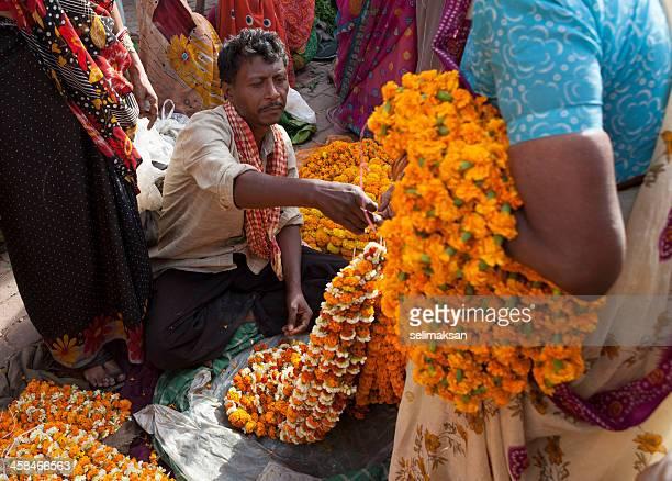 Sellers of puuja flowers in market,Varanasi,India