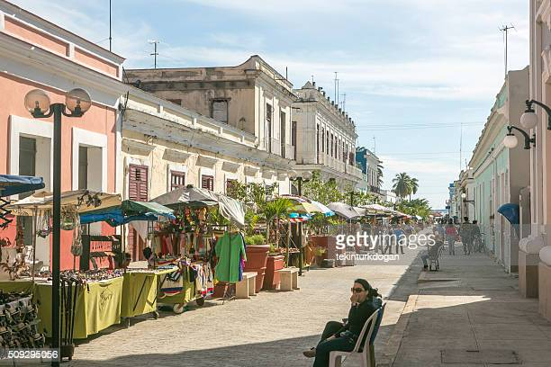 selling local presents at streets of cienfuegos city in Cuba