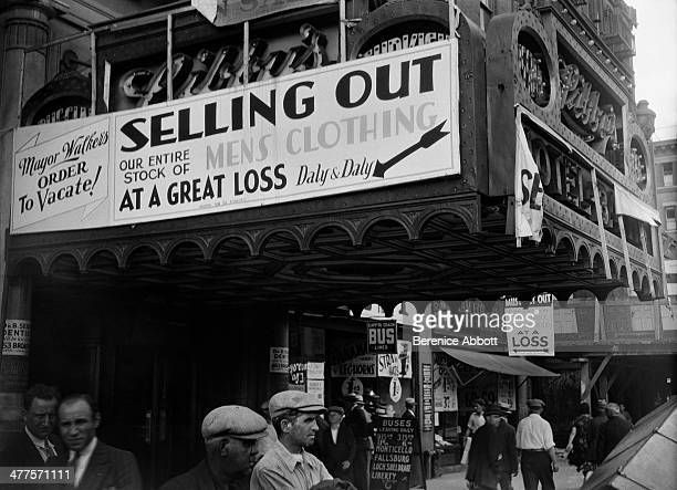 Selling out mens clothing Lower East Side New York City New York circa 1930
