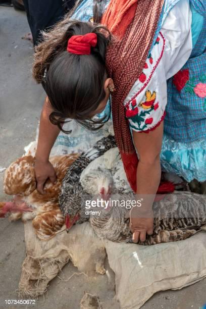 Vente de volailles au marché Tlacolula au moment du Día de los Muertos, Oaxaca