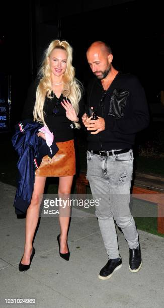 Selling Sunset star Christine Quinn and Christian Richard at BOA Steakhouse on February 6, 2021 in Los Angeles, California.