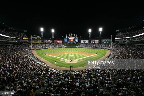 Sellout crowd of 39,378 watch the Detroit Tigers take on the defending World Champion Chicago White Sox at U.S. Cellular Field in Chicago, Illinois...
