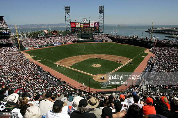 A sellout crowd watches the action between the San Francisco Giants and the Los Angeles Dodgers during opening day on April 5 2005 at SBC Park in San...