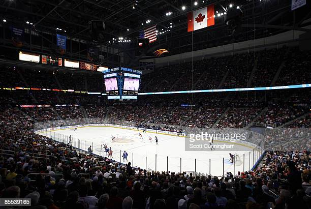 A sellout crowd watches the Atlanta Thrashers take on the Detroit Red Wings at Philips Arena on March 20 2009 in Atlanta Georgia