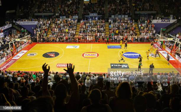 A sellout crowd watches the game during the round 12 NBL match between the Illawarra Hawks and the Sydney Kings at Wollongong Entertainment Centre on...