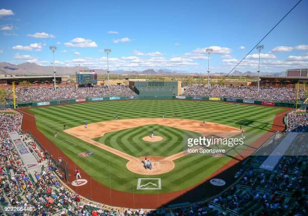 A sellout crowd watches the MLB Spring Training baseball game between the Chicago Cubs and the Arizona Diamondbacks on March 4 2018 at Salt River...