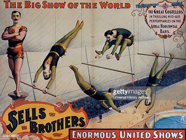 Sells Brothers Enormous United Shows Poster, The Great Costellos in Thrilling Mid-Air Performances on the Aerial Horizontal Bars.