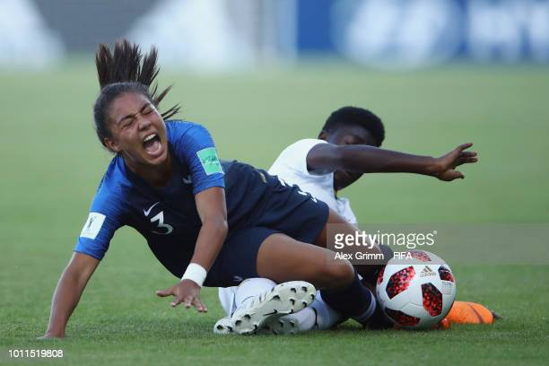 Emelyne Laurent of France takes on Grace Acheampong of Ghana during the FIFA U20 Women's World Cup France 2018 group A match between France and Ghana...