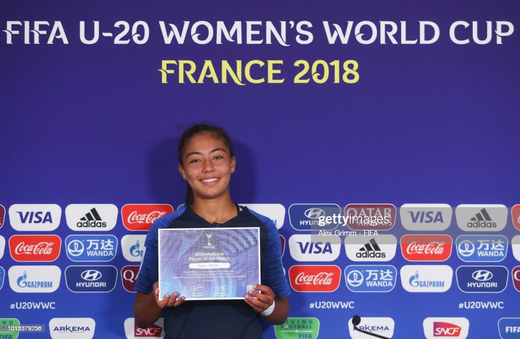 Selma Bacha of France poses for a photo after being awarded 'Player of the match' during the FIFA U-20 Women's World Cup France 2018 group A match between France and New Zealand at Stade de la Rabine on August 8, 2018 in Vannes, France.