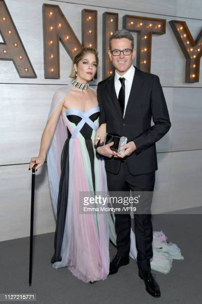 Selma Blair and David Lyons attend the 2019 Vanity Fair Oscar Party hosted by Radhika Jones at Wallis Annenberg Center for the Performing Arts on...
