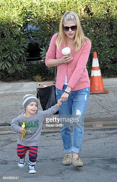 Selma Blair and her son, Arthur Bleick, are seen at the Studio City Framers Market on December 08, 2013 in Los Angeles, California.