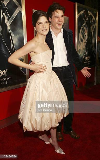 "Selma Blair and Rupert Evans during ""Hellboy"" Los Angeles Premiere - Red Carpet at Mann Village Westwood in Westwood, California, United States."