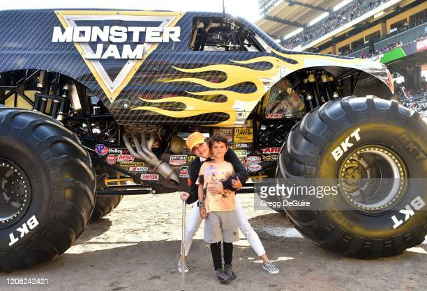 Selma Blair and son Arthur attend the Monster Jam Celebrity Event at Angel Stadium on February 23, 2020 in Anaheim, California.