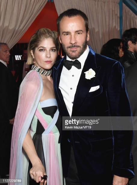 Selma Blair and Tom Ford attend the 2019 Vanity Fair Oscar Party hosted by Radhika Jones at Wallis Annenberg Center for the Performing Arts on...