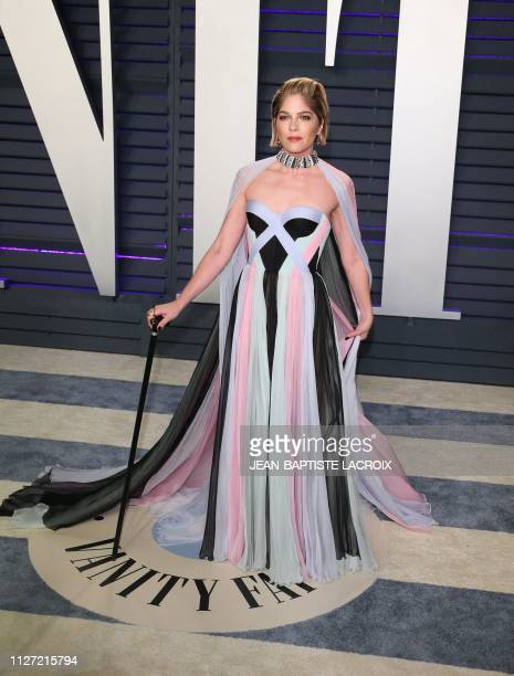 TOPSHOT Selma Blair arrives for the 2019 Vanity Fair Oscar Party at the Wallis Annenberg Center for the Performing Arts on February 24 2019 in...