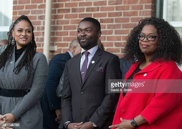 Selma director Ava DuVernay actor David Oyelowo and producer/actress Oprah Winfrey participate in the ceremony to commemorate the life of Dr Martin...