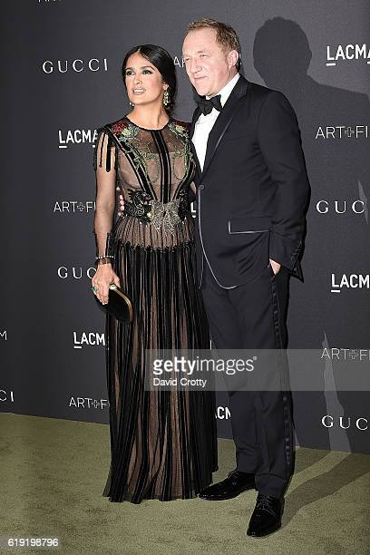 Selma Hayek and FrancoisHenri Pinault attend the 2016 LACMA ArtFilm Gala Arrivals at LACMA on October 29 2016 in Los Angeles California