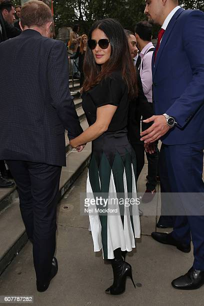 Selma Hayek seen arriving at Christopher Kane on Day 4 of London Fashion Week Spring/Summer 2017 on September 19 2016 in London England