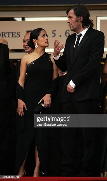 Selma Hyack and Emir Kusturica during 2005 Cannes Film Festival L`Enfant Premiere in Paris France